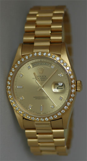 605589bfe61 Certified Pre-owned Rolex Men s President with original champagne diamond  dial and a custom 1.3CT Diamond bezel. Circa mid 90 s. In pristine  condition.